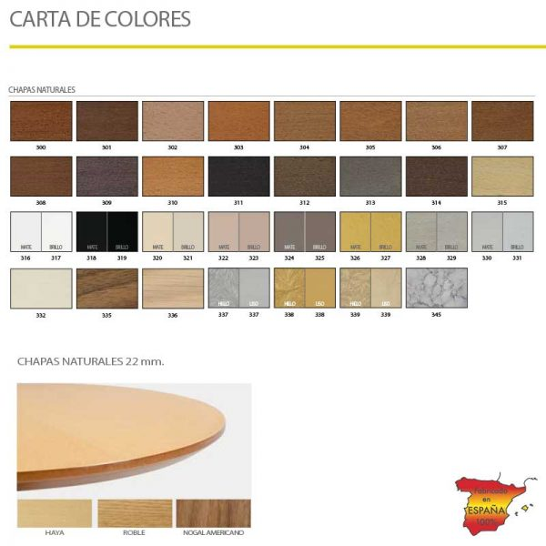 Carta color acabados